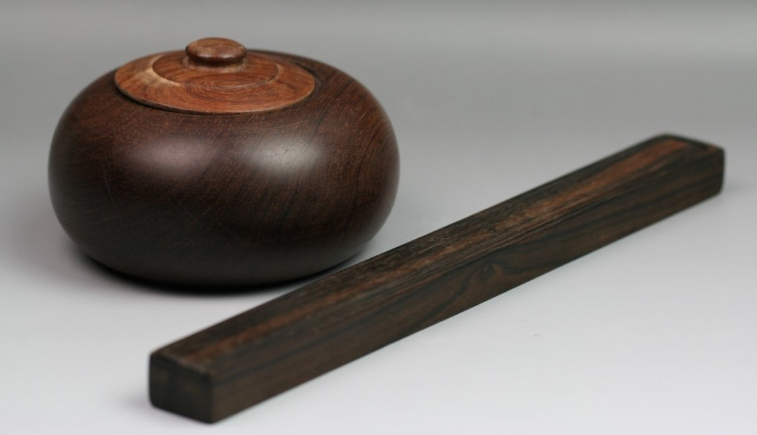 15: Chinese Antique Rosewood Go-Game Case&Chopsticks