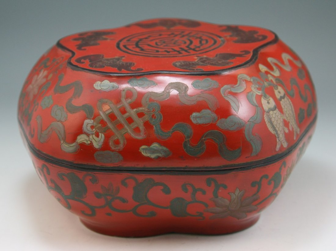 19: Chinese Antique Red Lacquer Box With Cover