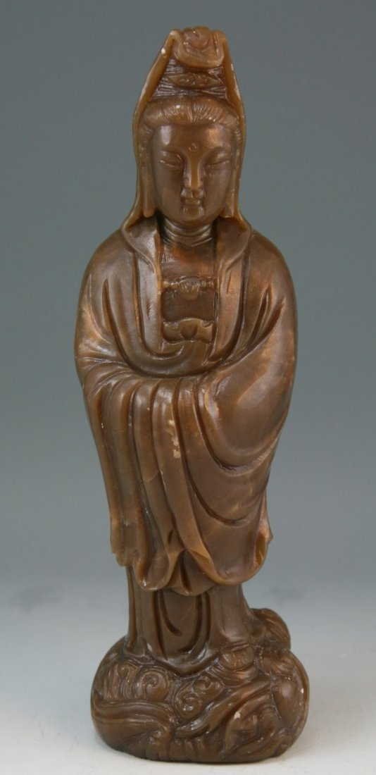 21: Chinese Carved Soapstone Kwan Yin Statue