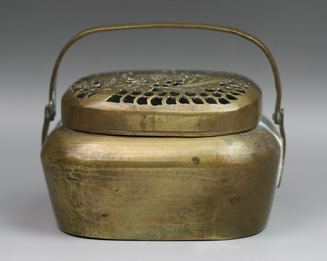 27: Chinese Antique Carved Bronze Hand Warmer