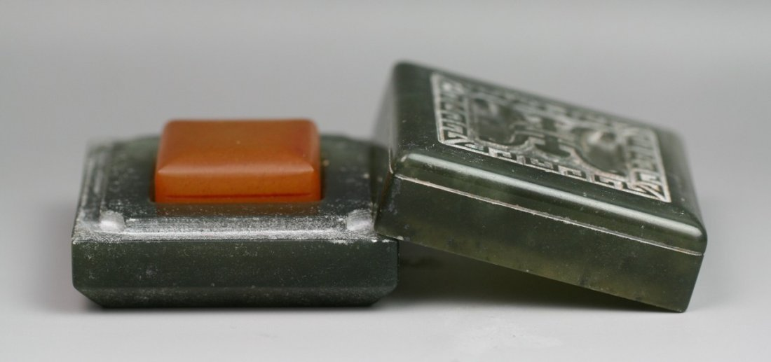 29: Chinese Orange Soap Stone Seal With Jade Case