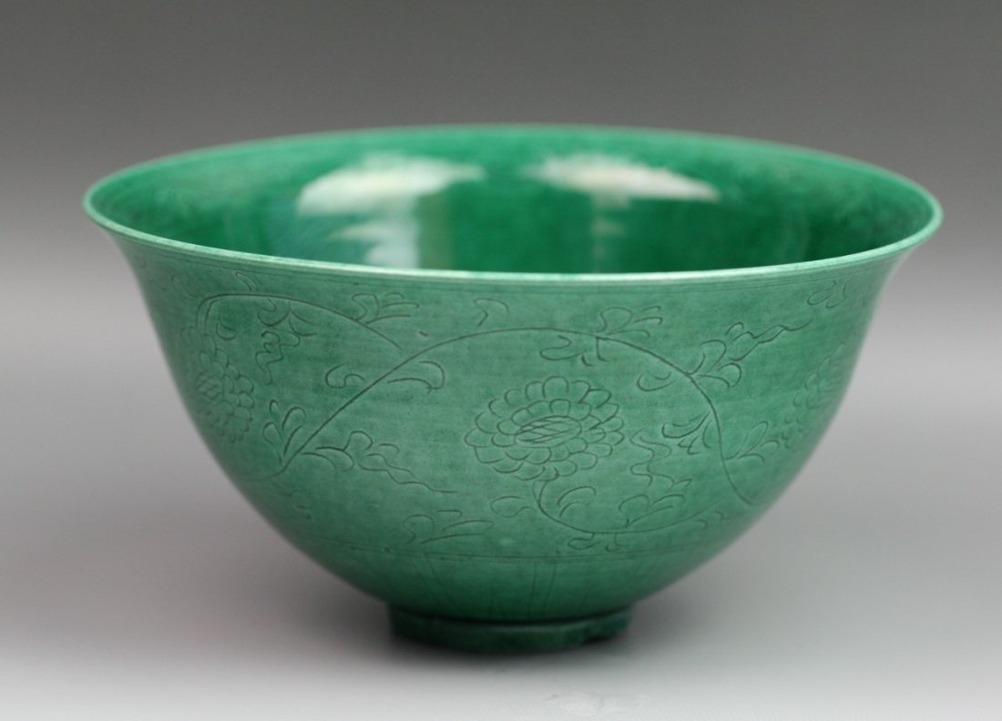 30: Chinese Engraved Porcelain Bowl With Green Glaze