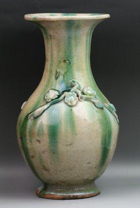 Chinese Polychrome Baluster-Shape Pottery Vase