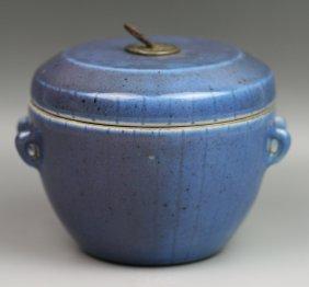 Chinese Antique Blue Glaze Porcelain Lidded Jar