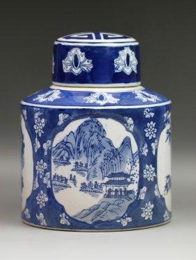 Chinese Qing Blue & White Lidded Cylindric Vase