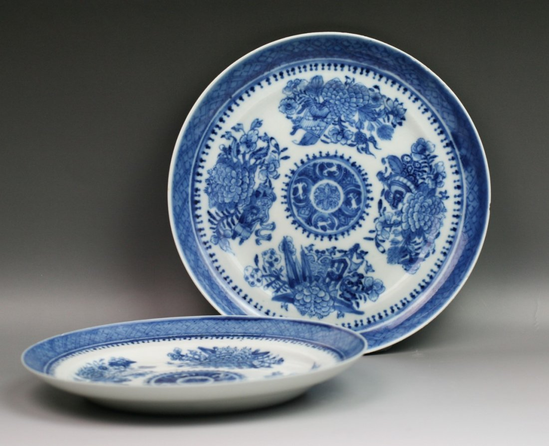 44: Chinese Qing Export Blue&White Porcelain Plates