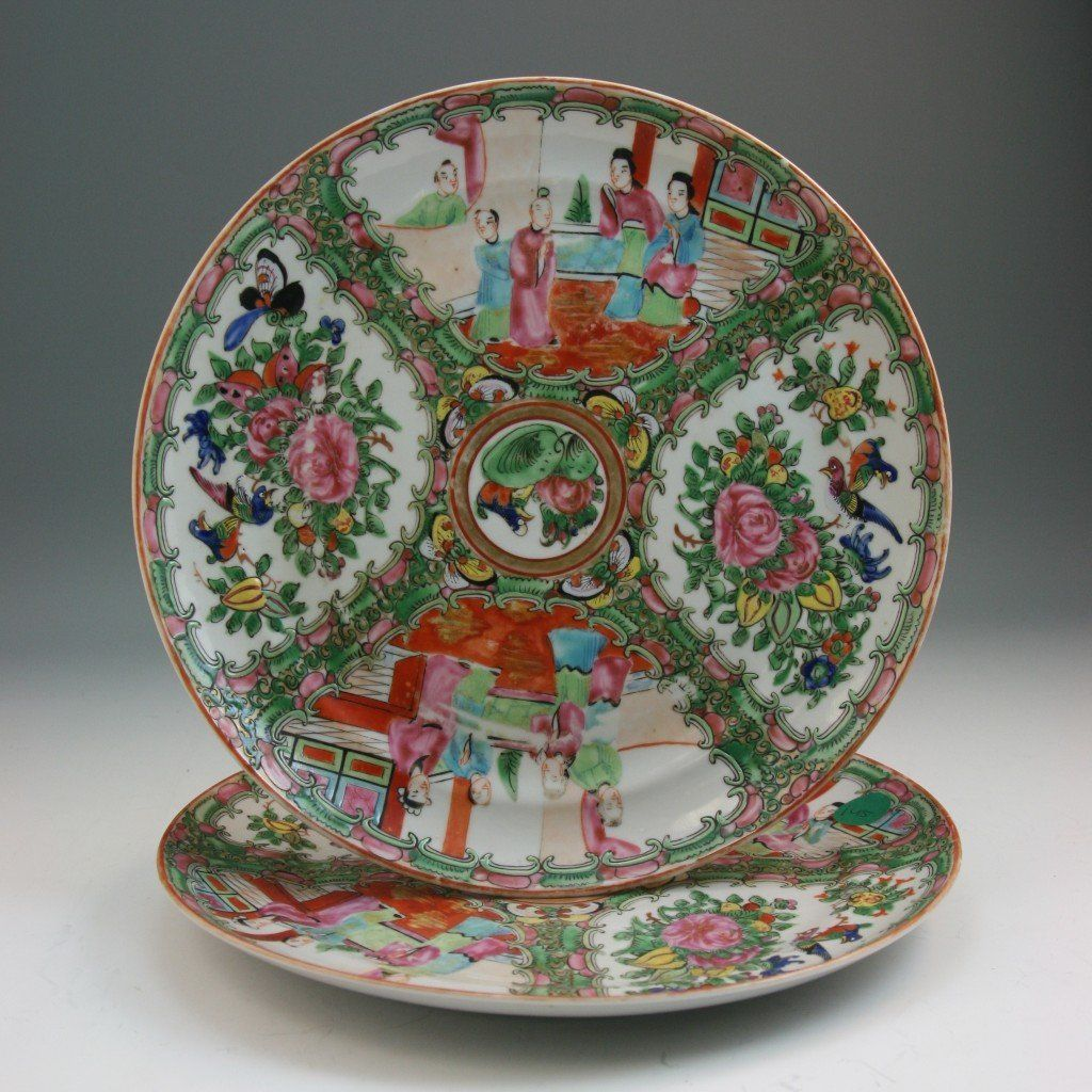 53: Pair Chinese Old Rose Medallion Porcelain Plates