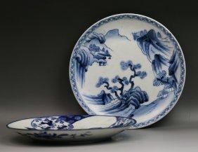 Two Japanese Antique Arita B&W Porcelain Plates