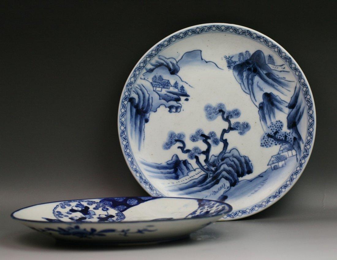 61: Two Japanese Antique Arita B&W Porcelain Plates