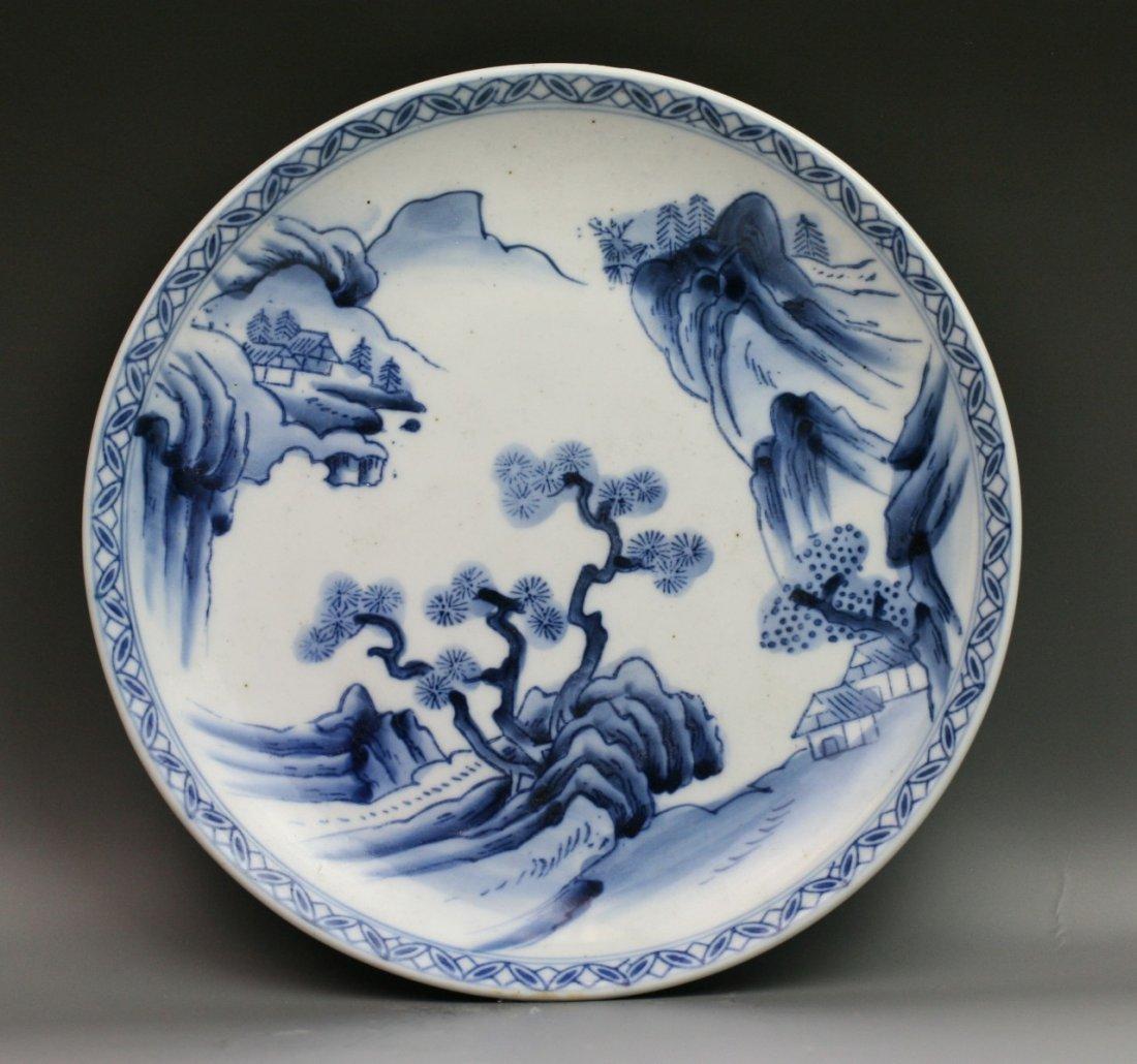 61: Two Japanese Antique Arita B&W Porcelain Plates - 2