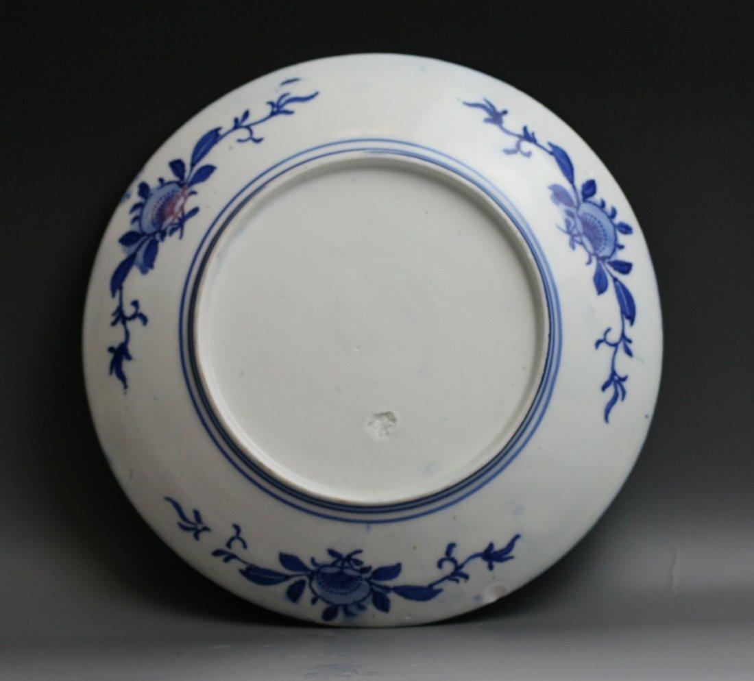 61: Two Japanese Antique Arita B&W Porcelain Plates - 6