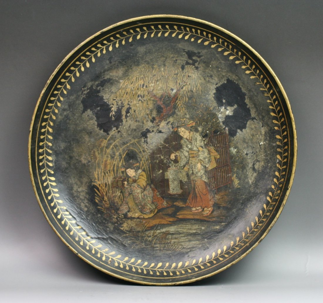 73: Japanese Antique Gilt Lacquer Plate 18Th Century