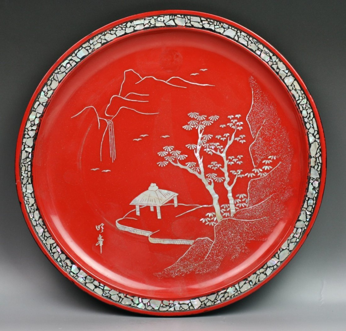 74: Japanese Red Lacquer Plate With Mother Of Pearl