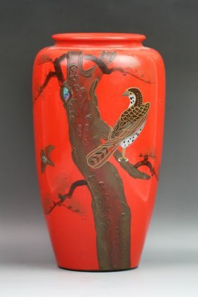 Japanese Jeweled Pottery Vase With Red Lacquer