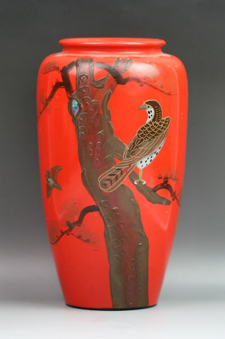 76: Japanese Jeweled Pottery Vase With Red Lacquer