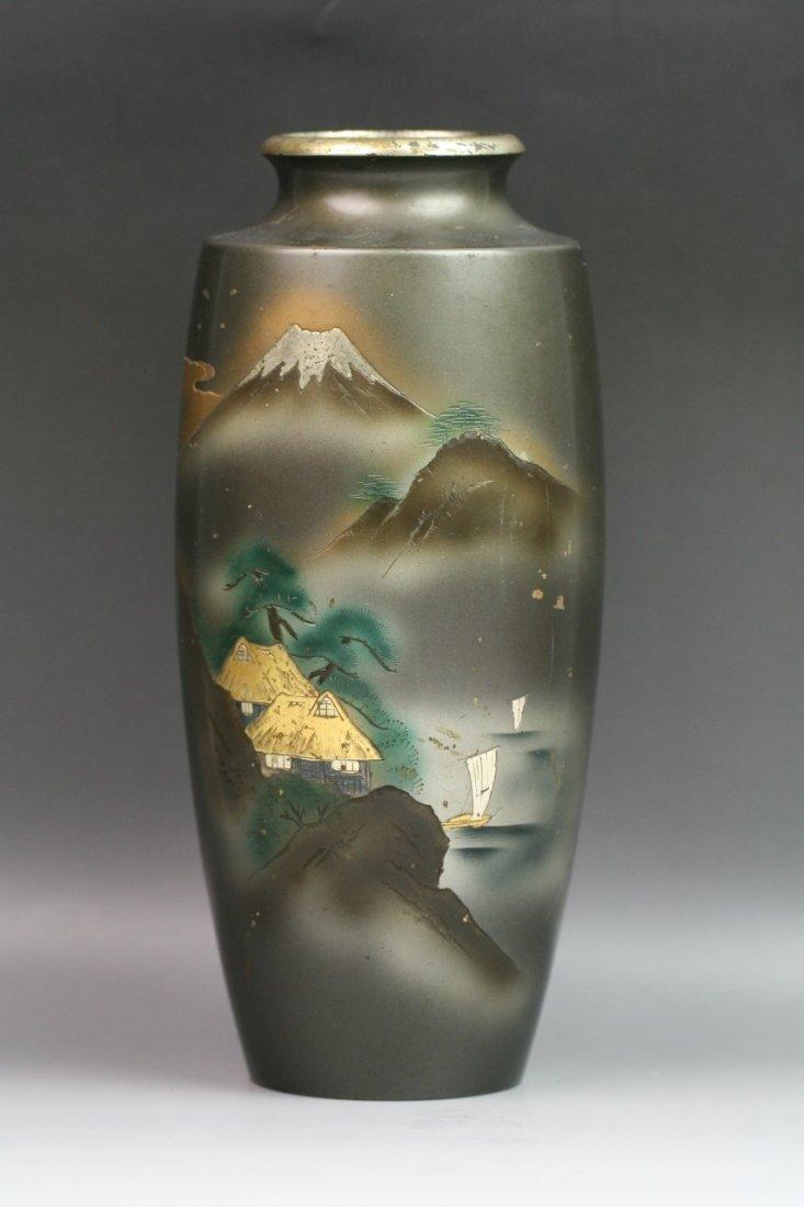78: Japanese Antique Shuzan Mixed Metal Vase