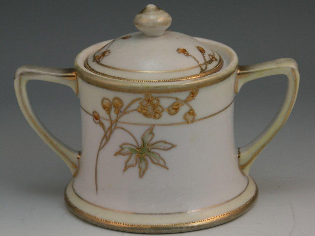 91: Japanese Old Nippon Porcelain Handled Sugar Can