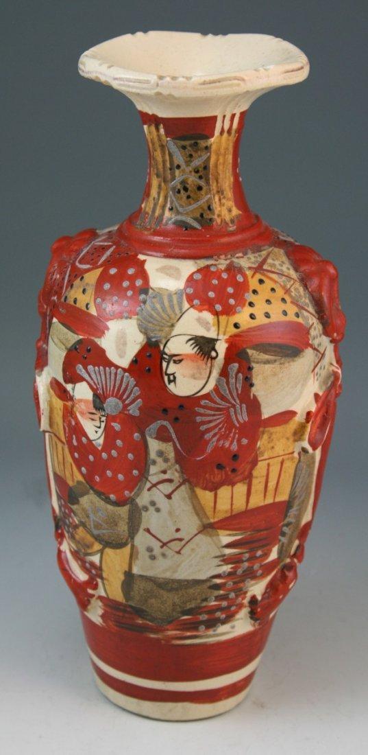 97: Japanese Antique Satsuma Moriage Ceramic Vase