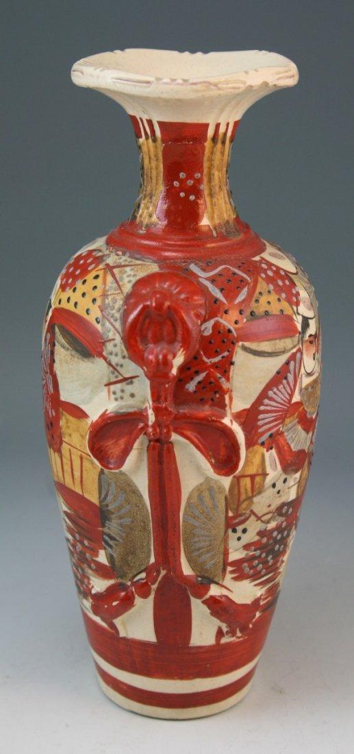 97: Japanese Antique Satsuma Moriage Ceramic Vase - 2