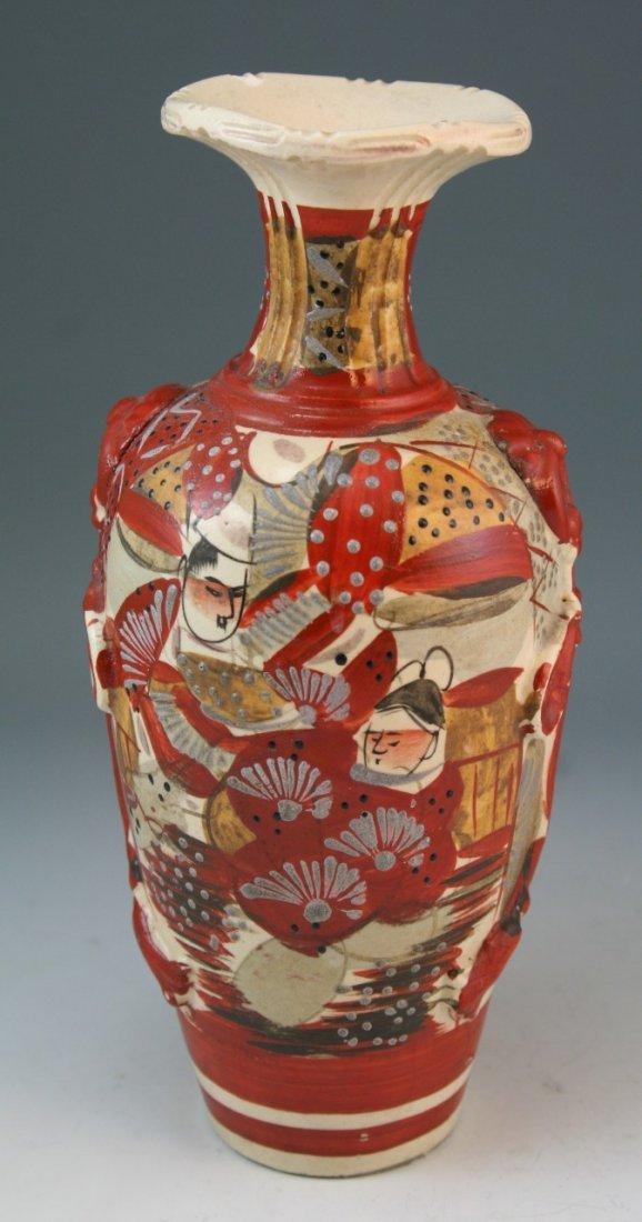 97: Japanese Antique Satsuma Moriage Ceramic Vase - 3