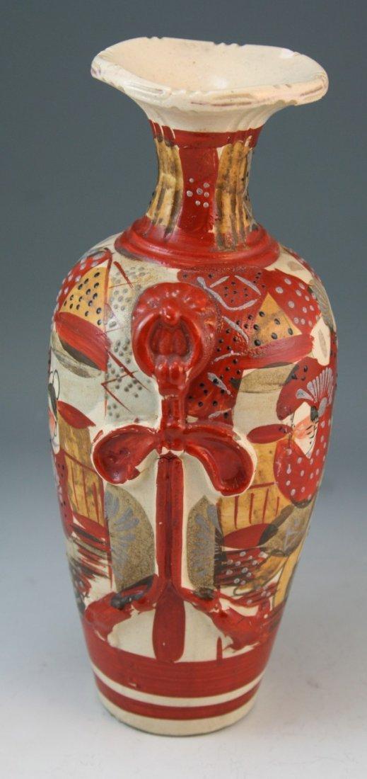 97: Japanese Antique Satsuma Moriage Ceramic Vase - 4