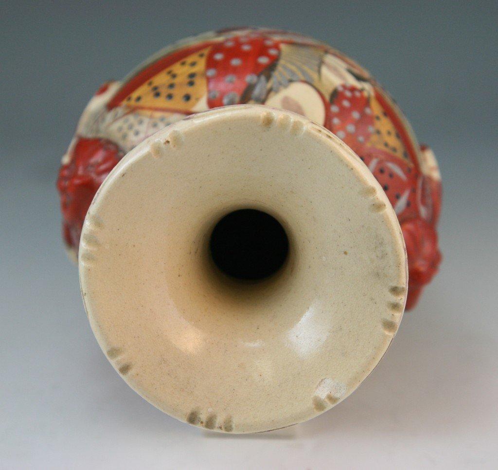 97: Japanese Antique Satsuma Moriage Ceramic Vase - 5