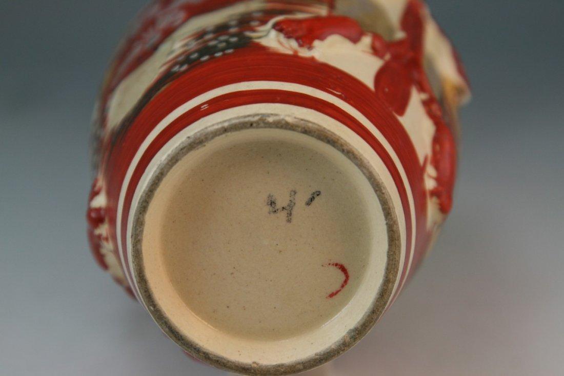 97: Japanese Antique Satsuma Moriage Ceramic Vase - 6