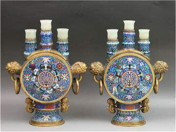 296: Rare Antique Chinese Cloisonne Candle Holders
