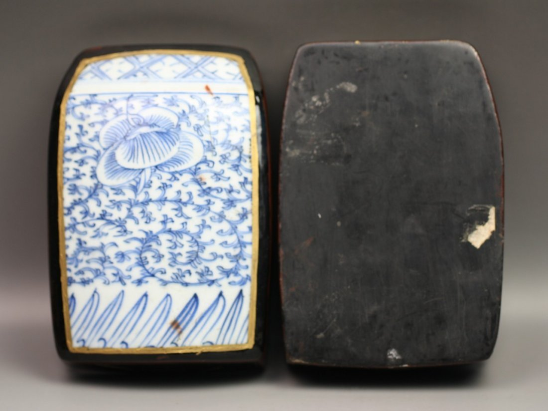 302: Antique Chinese Porcelain & Lacquer Trinket Box - 4