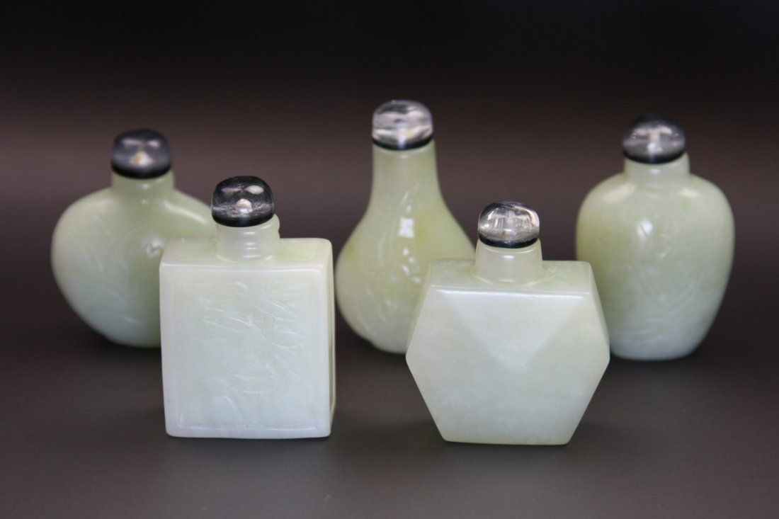 313: Rare Set(Five) Chinese White Jade Snuff Bottles