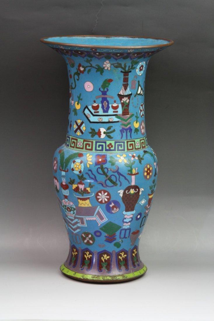 326: Massive Vintage Chinese Cloisonne Yen Yen Vase - 2