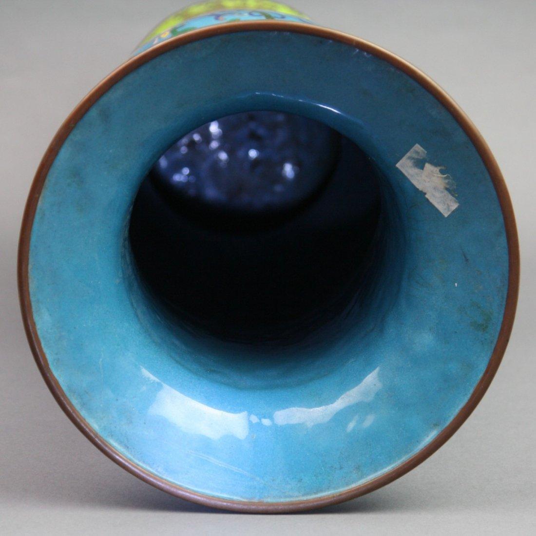 326: Massive Vintage Chinese Cloisonne Yen Yen Vase - 5
