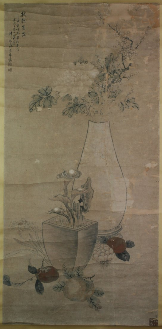 365: Chinese Paper Scroll Painting: Flowers