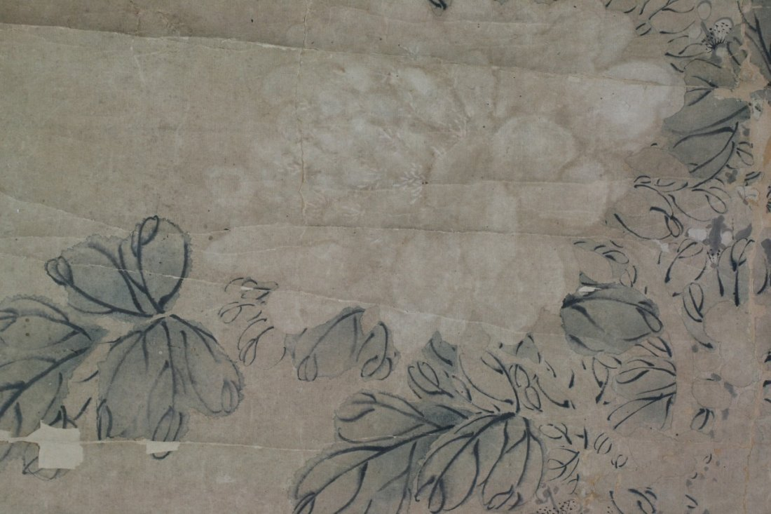 365: Chinese Paper Scroll Painting: Flowers - 3