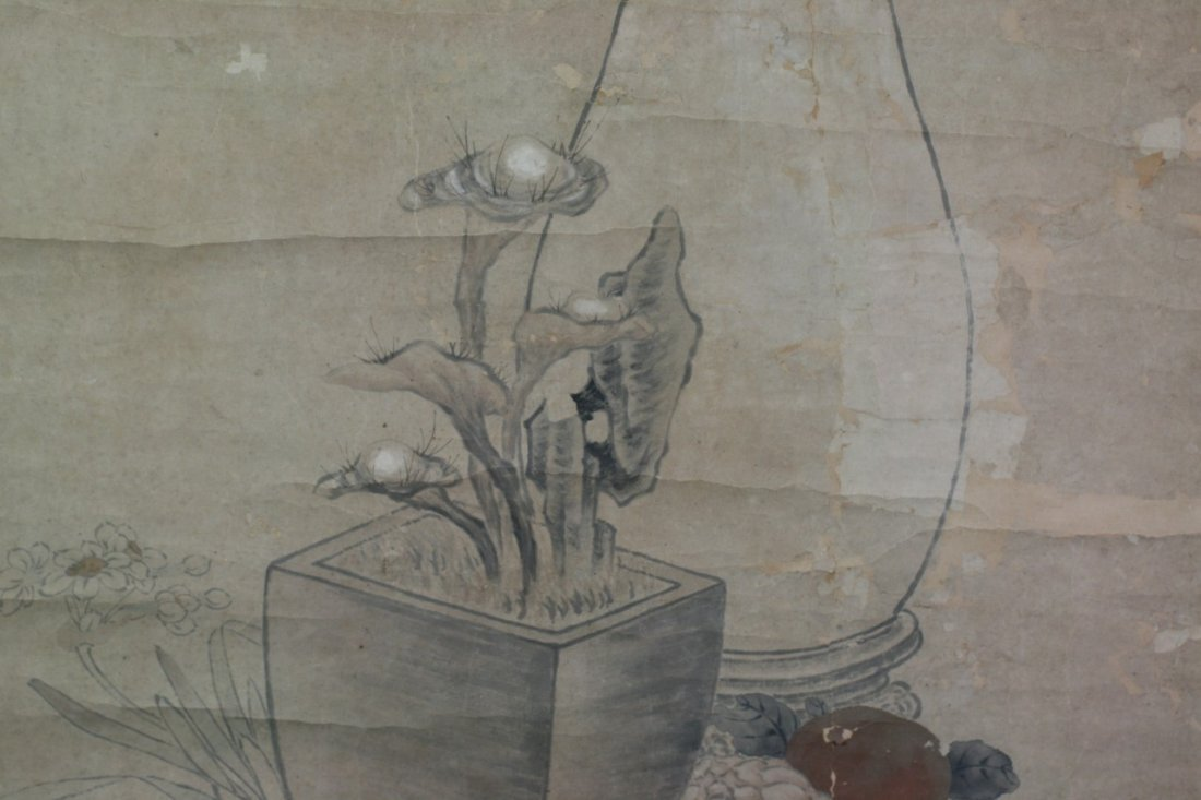 365: Chinese Paper Scroll Painting: Flowers - 4
