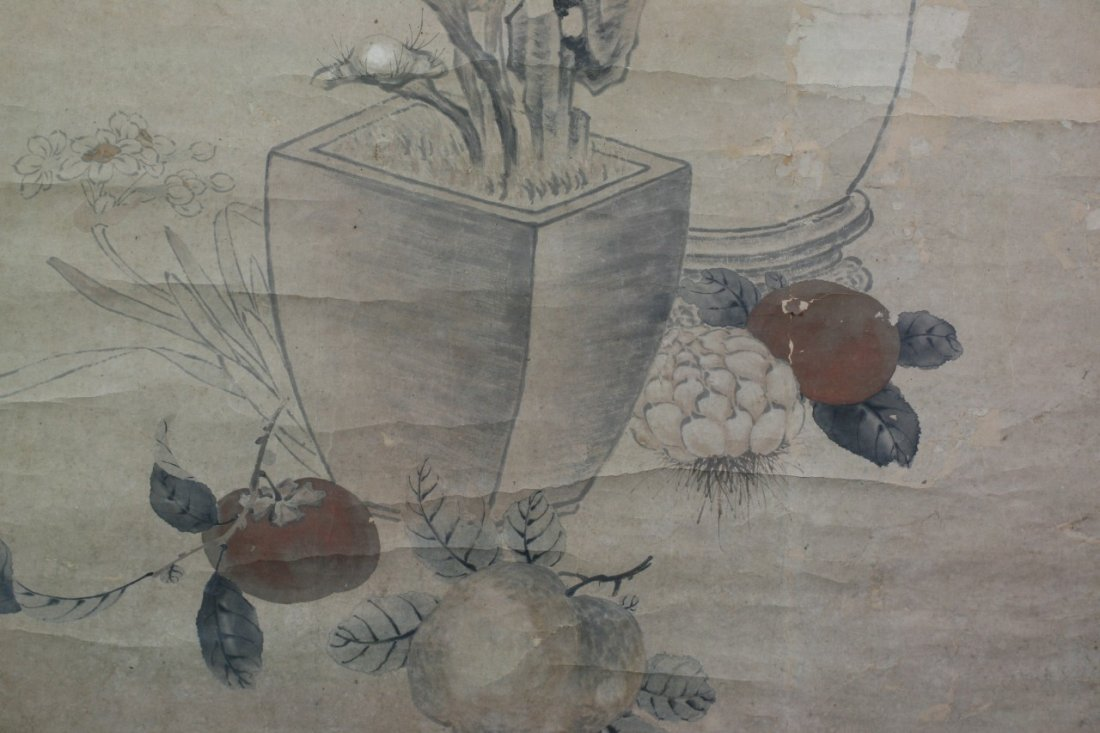 365: Chinese Paper Scroll Painting: Flowers - 5