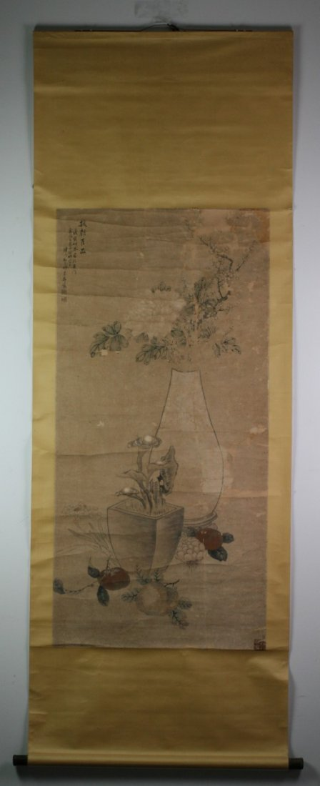 365: Chinese Paper Scroll Painting: Flowers - 8