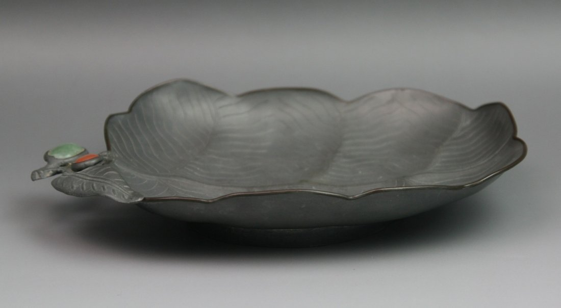 7: Antique Chinese Jeweled Pewter Scallop Plate