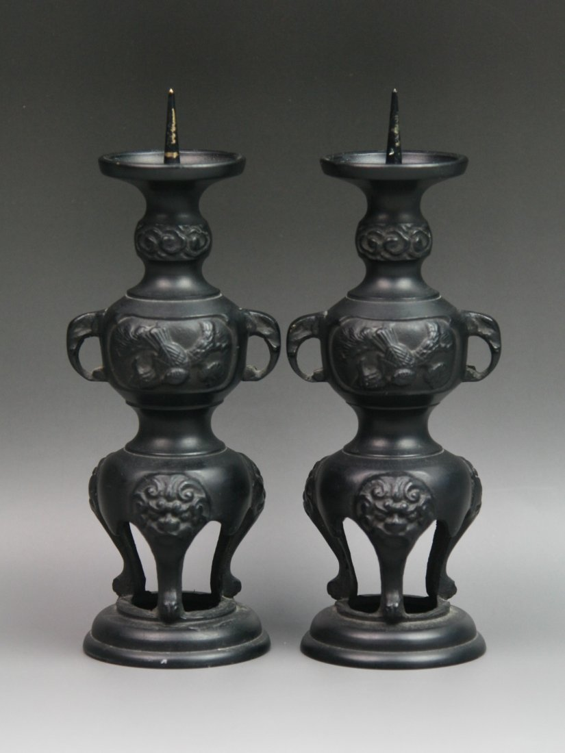 8: Pair Vintage Japanese Bronze Candle Holders