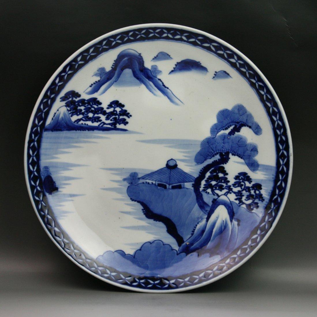 10: Big Antique Japanese Arita B&W Porcelain Charger