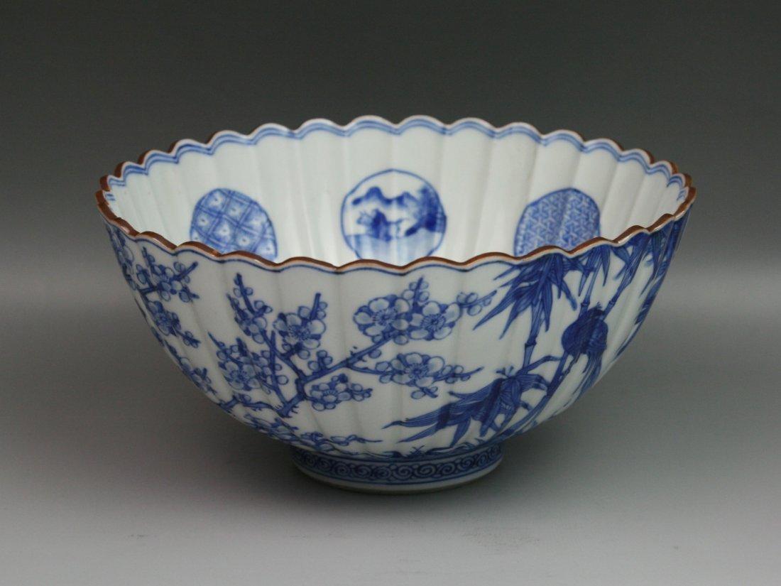 12: Japanese Antique Arita Blue&White Porcelain Bowl