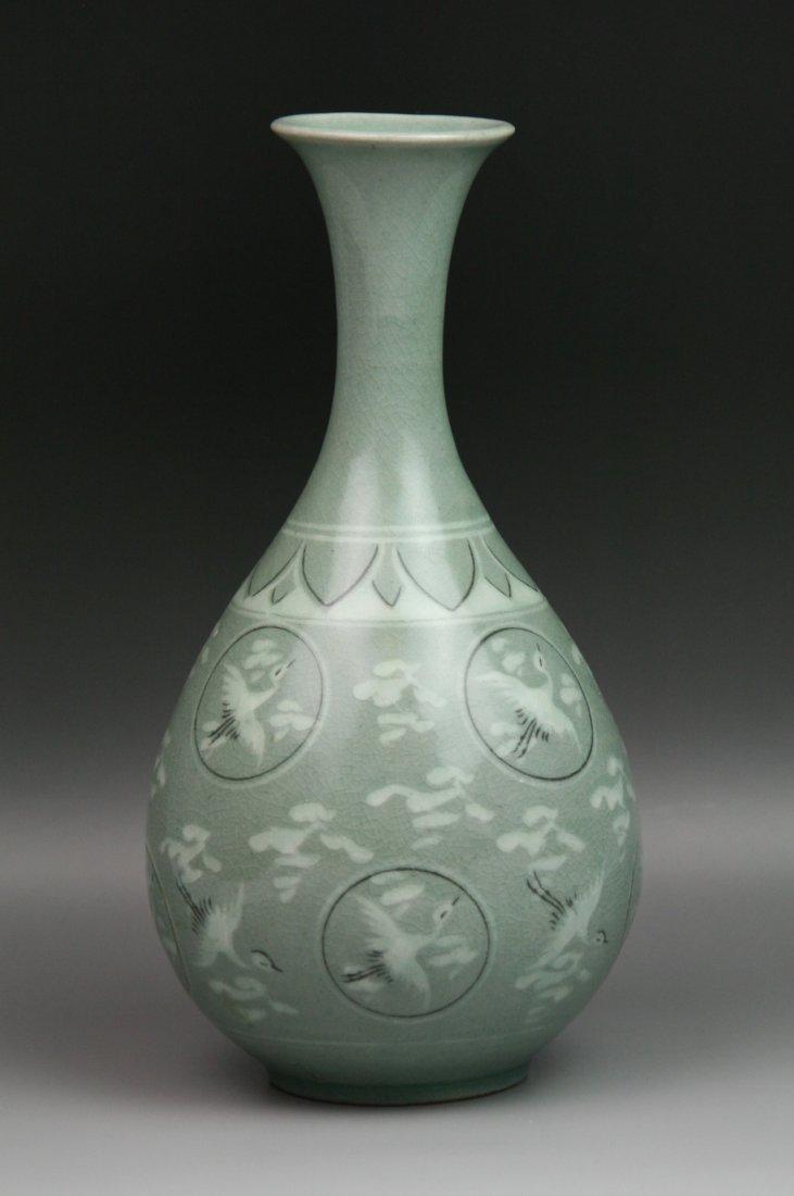 16: Big Korean Celadon Glaze Porcelain Yuhuchun Vase