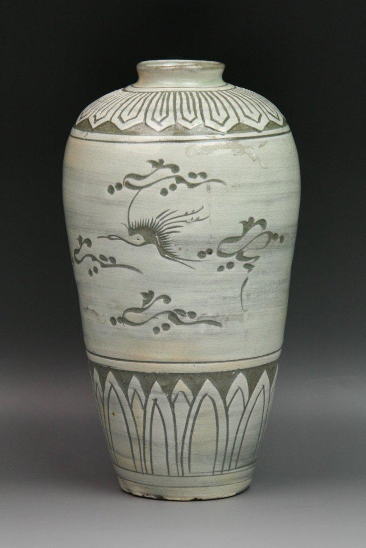 17: Antique Korean Celadon Glaze Porcelain Meiping