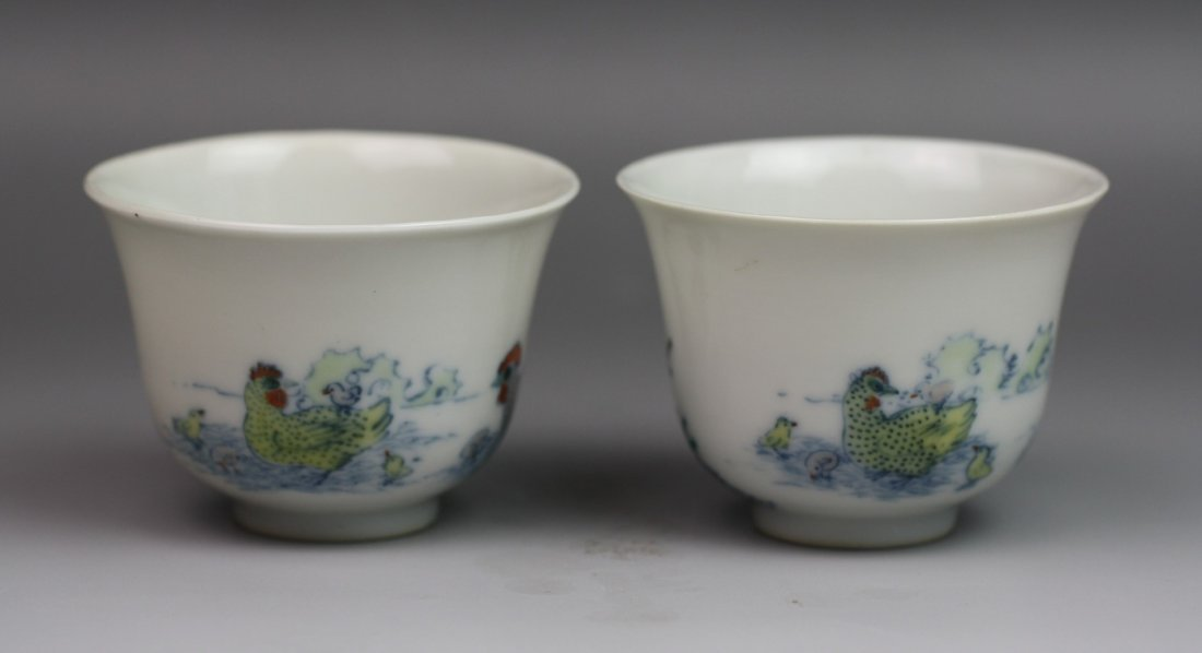 18: A Pair Of Chinese Polychrome (Doucai) Cups