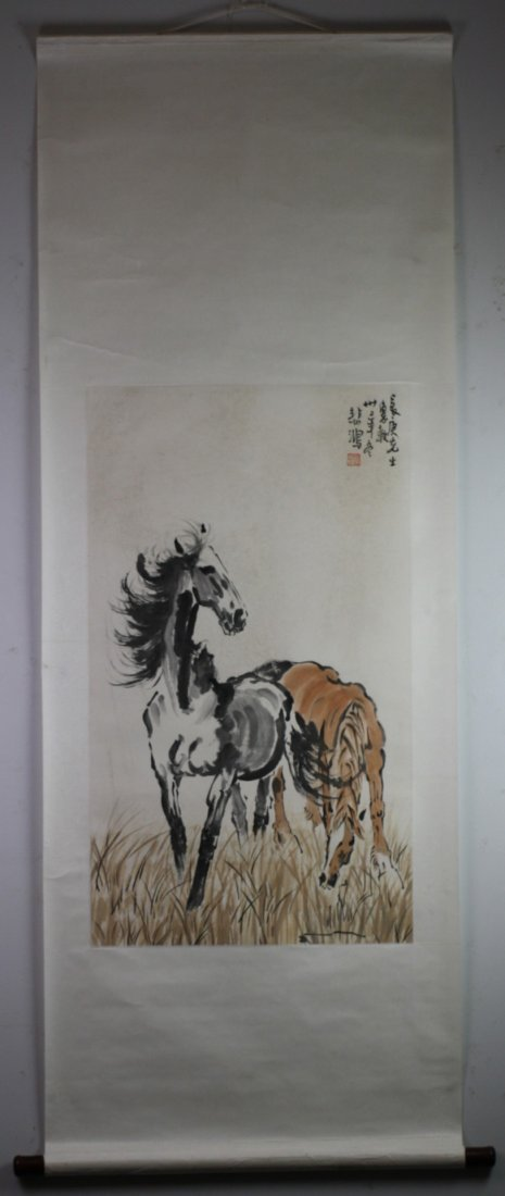 344: A Fine Chinese Painting Scroll By Xu Beihong