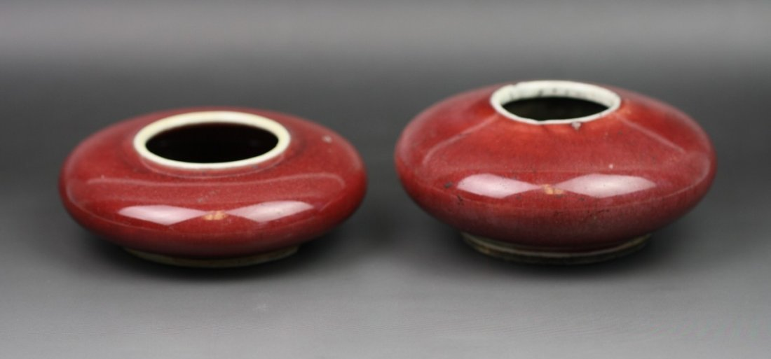 51: Two Antique Chinese Ox-Blood Red Water Droppers