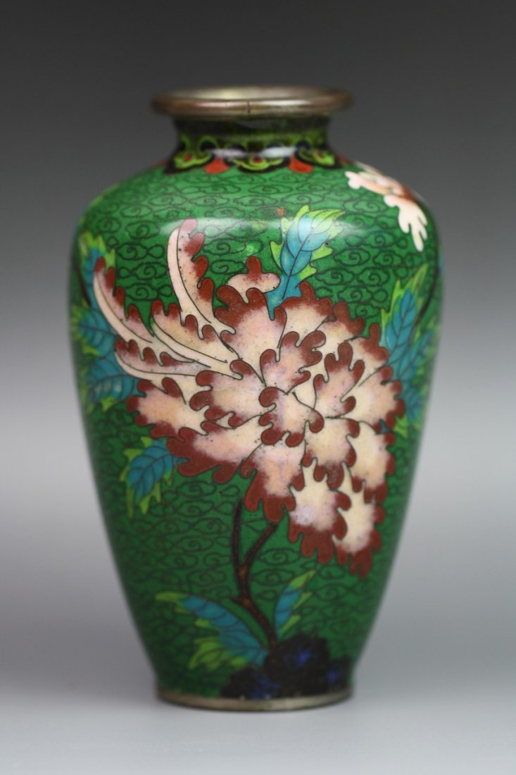 4: Japanese Cloisonne Silver Bodied Vase