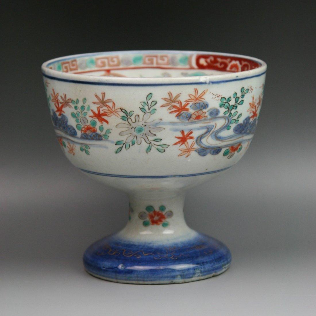 6: Antique Japanese Imari Gilt Porcelain Stem Bow