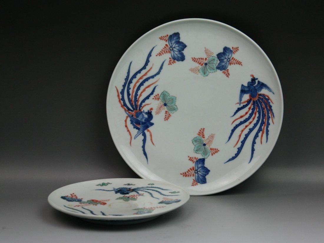 7: Two Japanese Arita Polychrome Porcelain Plates