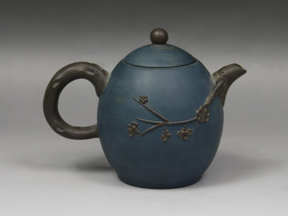 18: A Carved Yixing Teapot And Cover By Wu Wenxia